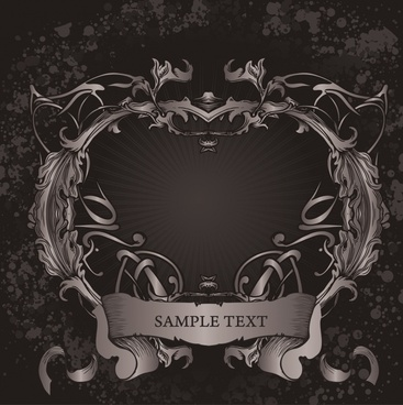 frame template dark vintage symmetric 3d ribbon decor