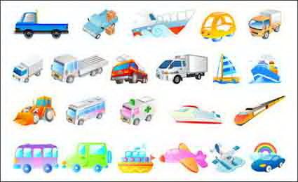 Vector ships, airplanes, cars, ambulances