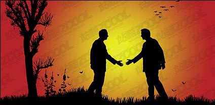 Vector silhouette handshake material