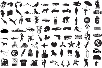 logo icons collection various silhouette style