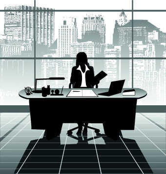 vector silhouettes of office work set