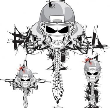 vector skeleton football helmets free cdr vector