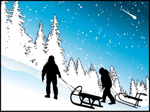 wintertime painting snow scene climber icons silhouette design