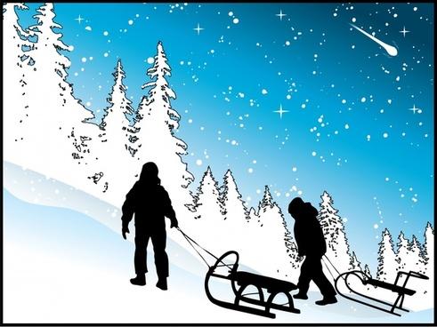 wintertime painting snow scene climber icons silhouette design