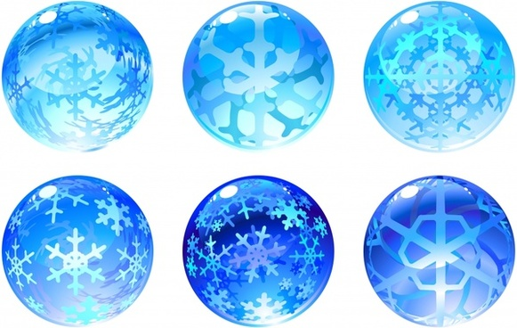 snowflakes crystal icon modern 3d blue global decor