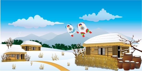 winter background retro japanese village icons decor