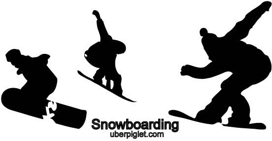 Vector snowboarding silhouettes