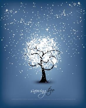 vector snowflake snowing tree lines