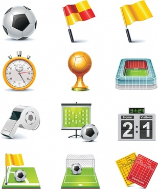 soccer game icons modern colored 3d symbols sketch