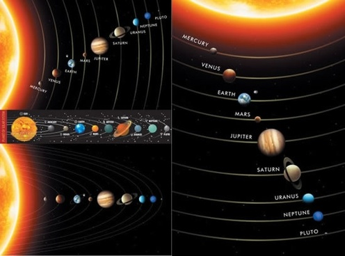 solar system background modern design planets layout