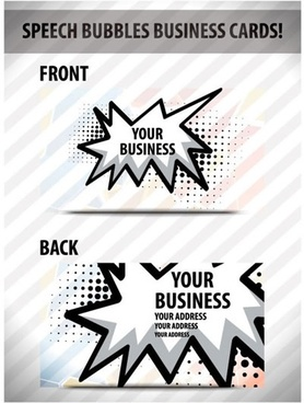 business card template modern flat speech bubble decor