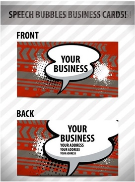 business card templates retro flat speech bubbles sketch