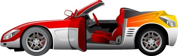 sport car vector illustration in color style