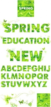 vector spring green letters
