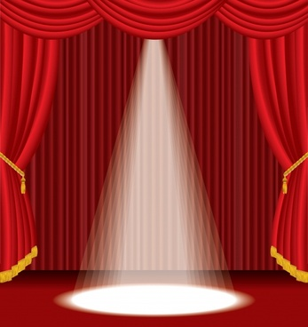 stage background elegant brilliant red curtain spotlight decor