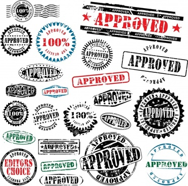 approval stamps templates classical grunge design