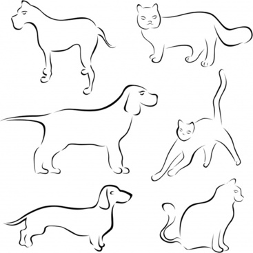 dog cat icons flat handdrawn sketch