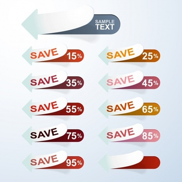 sale tags templates modern curled up arrow shapes