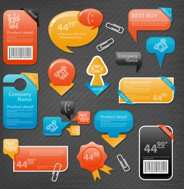 sale tags collection modern colorful flat shapes design