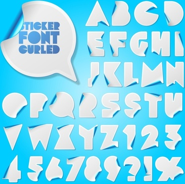 alphabet stickers template modern 3d curled up sketch