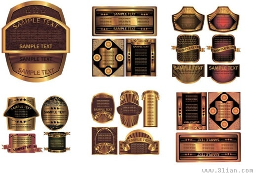 labels templates elegant luxury shiny golden decor