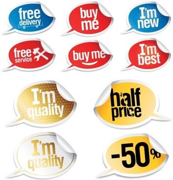 vector stickers dialogue bubbles
