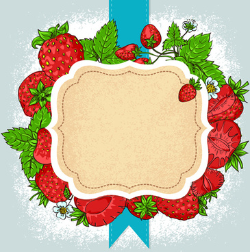 vector strawberries frame design
