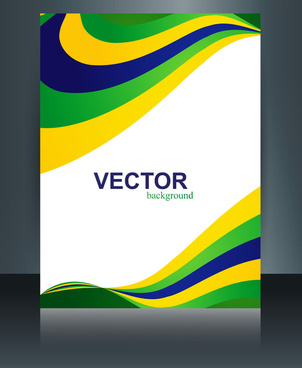 vector stylish wave brochure template for brazil flag concept beautiful design