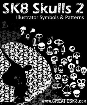 horror banner black and white design skulls decoration