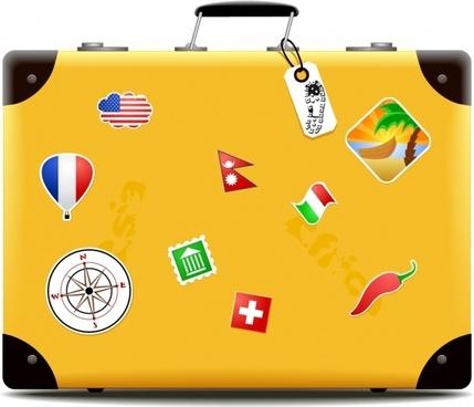 travel background suitcase icon colorful symbols stickers decor