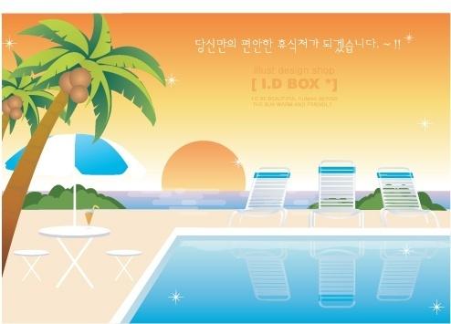 vector summer beach leisure