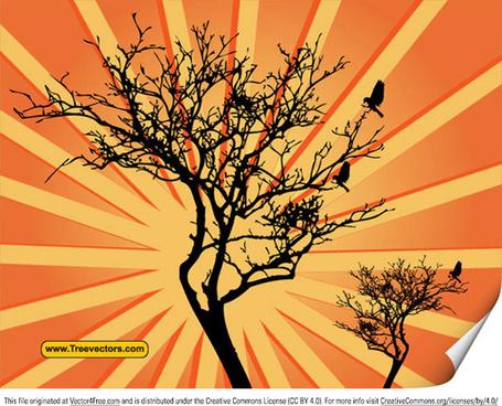 vector sunburst background with tree