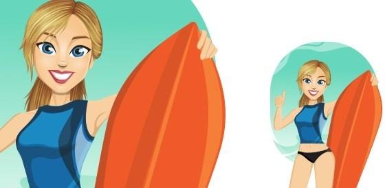 vector surf girl