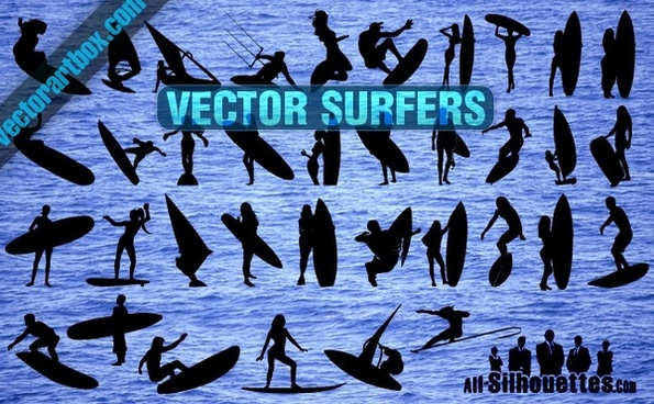 Vector Surfers Clipart