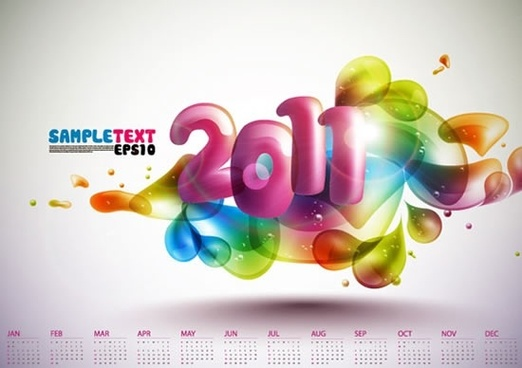 2011 calendar template colorful dynamic deformed bubbles decor