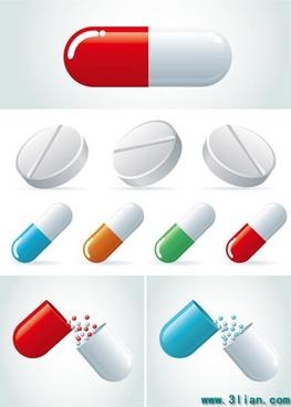 medicine background capsule tablet icons modern colored design