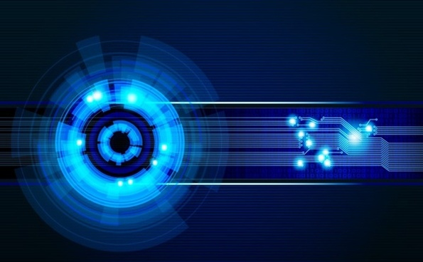abstract technology background sparkling blue circles spots connection