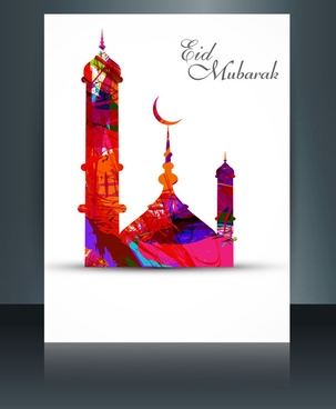 vector template mosque brochure with colorful wave ramadan kareem illustration