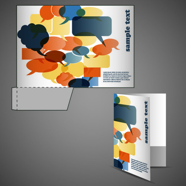vector template of corporate folder with die cut set