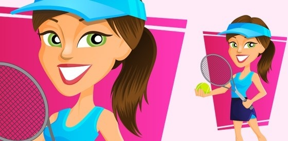 vector tennis girl