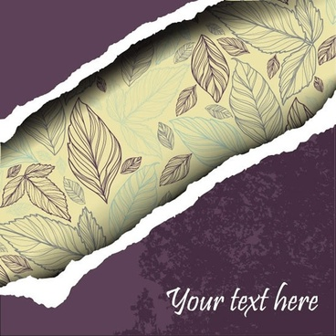 torn paper background classic handdrawn leaves decor