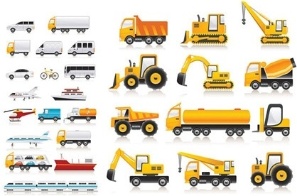 transportation vehicle icons collection various colored flat types