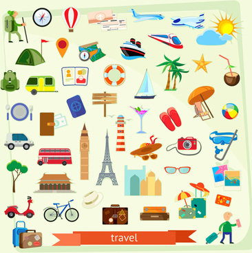 vector travel elements set