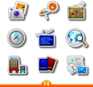 vector travel products labeling