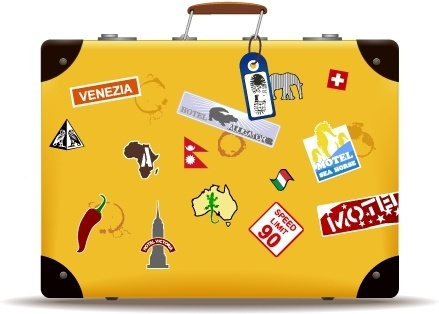 travel suitcase icon various symbol tags yellow design