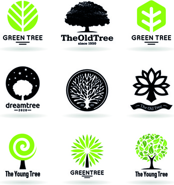 vector trees logos creative design set