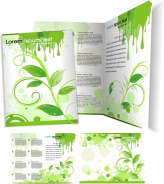 brochure templates nature theme green grunge decor