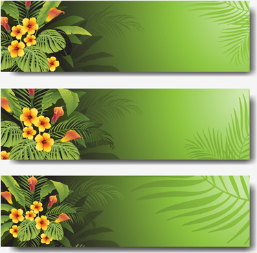 vector tropical plants green banner set