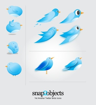birds icons sketch blue decoration cartoon style