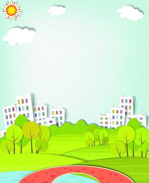 vector urban landscapes set